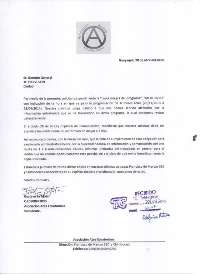 Recibido Solicitud de Videos de la Asociación Ateísta Ecuatoriana