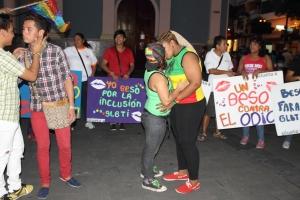 Beso Publico contra el rechazo a la Homofobia y Transfobia el dia 17 de mayo del 2014, evento realizado por Silueta X (62)