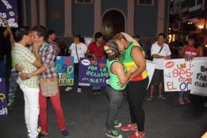 Beso Publico contra el rechazo a la Homofobia y Transfobia el dia 17 de mayo del 2014, evento realizado por Silueta X (63)