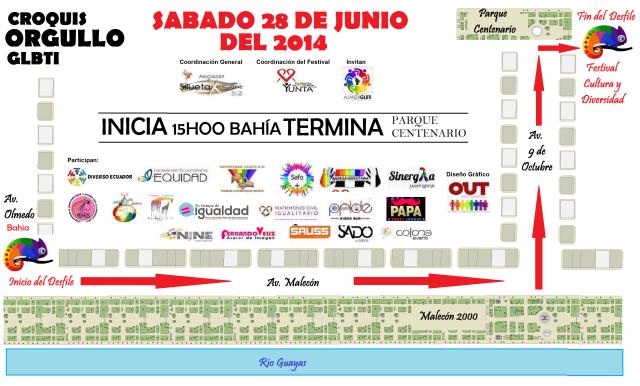 Croquis del Orgullo y Diversidad Sexual GLBTI 2014 en Guayaquil