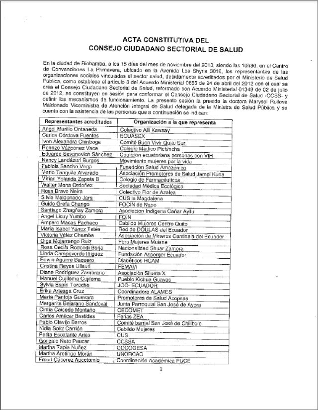 Acta Constitutiva del Consejo Ciudadano Sectorial de Salud