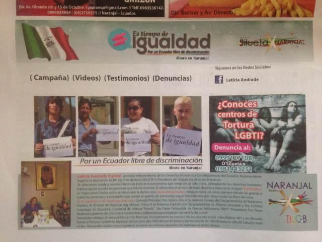 Por un Ecuador libre de discriminación ahora en Naranjal- SiluetaX
