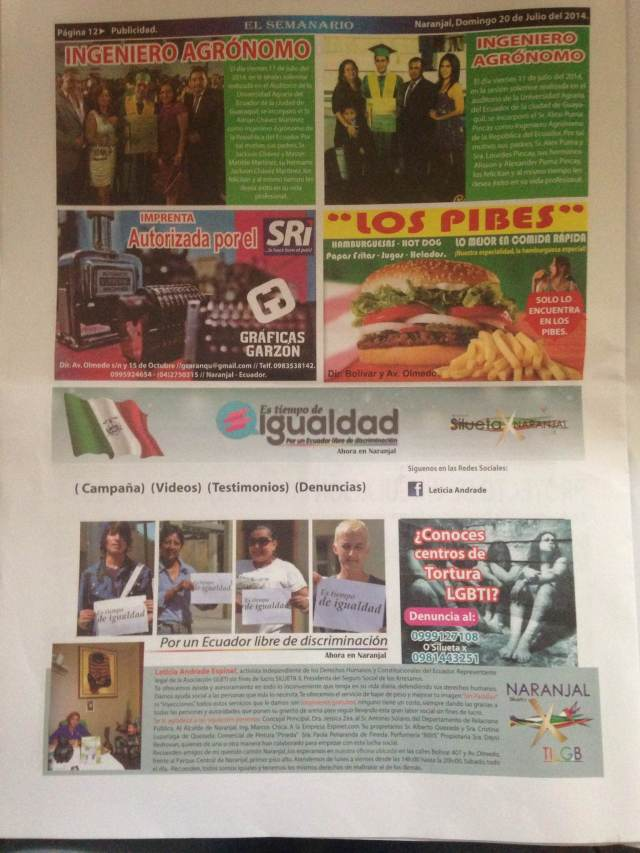 Por un Ecuador libre de discriminación ahora en Naranjal- SiluetaX.