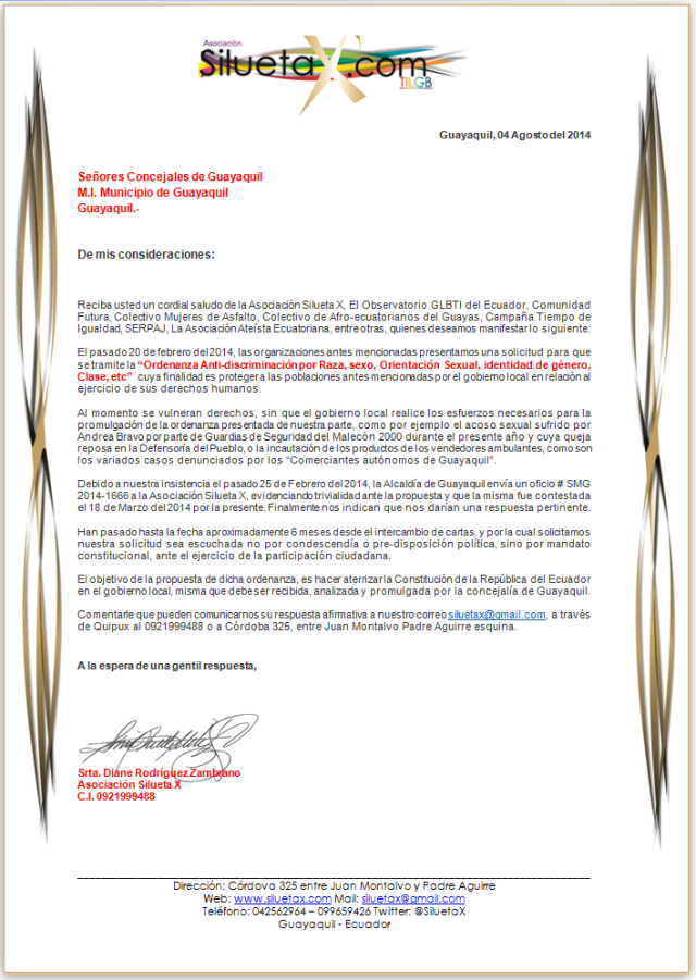 carta-al-alcalde-de-guayaquil-sobre-ordenanza-anti-discrimincic3b3n-presentada-por-la-asociacic3b3n-silueta-x-04-agosto-2014