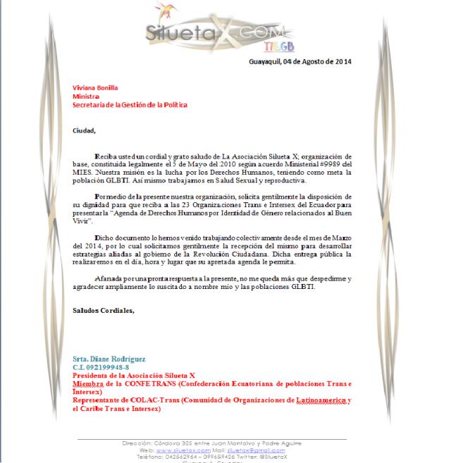 Viviana Bonilla - Carta de Solicitud para Reunión y presentación de la agenda en Identidad de Género.-Siluetax