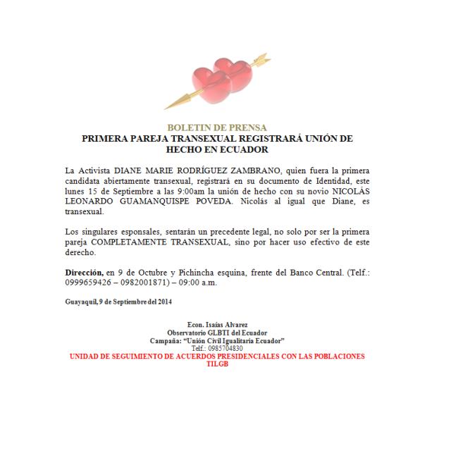 Campaña Unión civil Igualitaria - Observatorio GLBTI invitan al registro de la unión de hecho de primera pareja completamente transexual (transgénero - mtf y ftm) en Ecuador