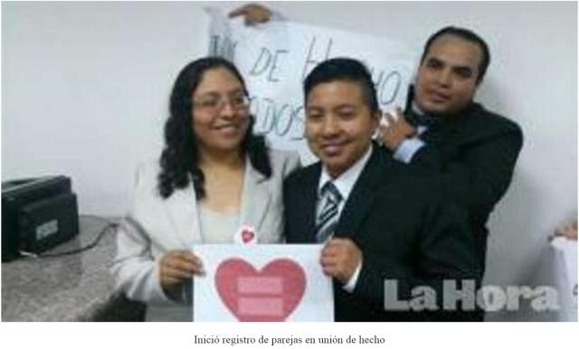 Se inició registro de parejas en unión de hecho en ciertas ciudades del país
