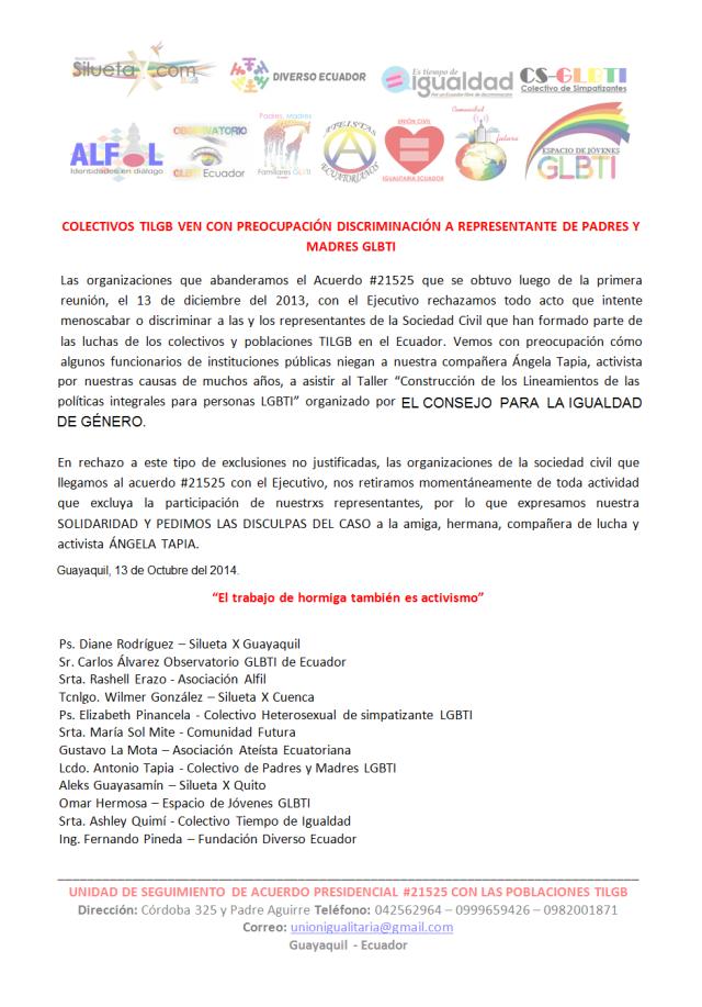 Colectivos TILGB ven con preocupación discriminación a representante de Padres y Madres GLBTI del Ecuador