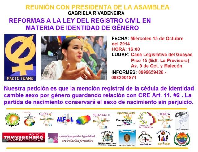 Reunión con Presidenta de la Asamblea Gabriela Rivadeneira con Pacto Trans sobre las reformas a la ley del registro civil en Materia de Identidad d género