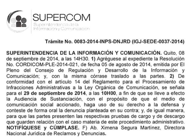 Supercom convoca a audiencia sobre 'La Pareja Feliz'.