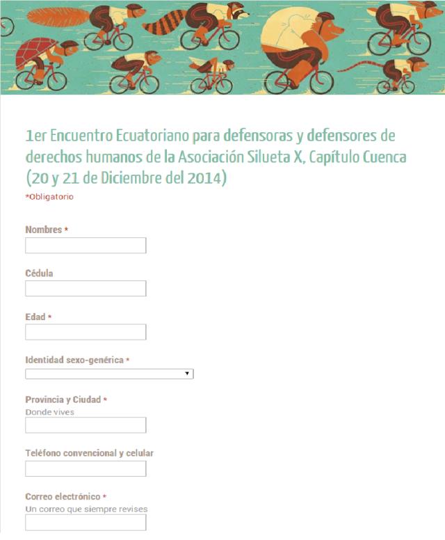 1er Encuentro Ecuatoriano para defensoras y defensores de derechos humanos de la Asociación Silueta X, Capítulo Cuenca (20 y 21 de Diciembre del 2014).