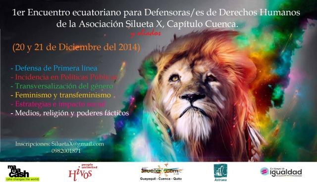 Primer encuentro ecuatoriano para defensoras y defensores de derechos humanos de la asociación silueta x, capitulo cuenca