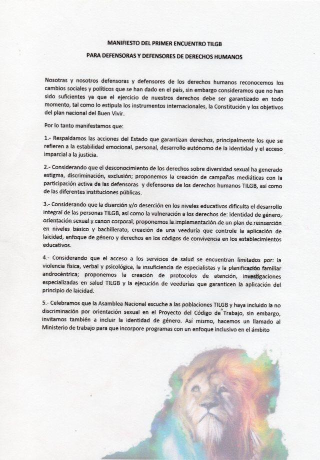 Manifiesto de los y las defensores y defensoras de derechos humanos TILGB LGBT, capitulo Yungilla, Cuenca, Ecuador realizado por la Asociación Silueta X 1