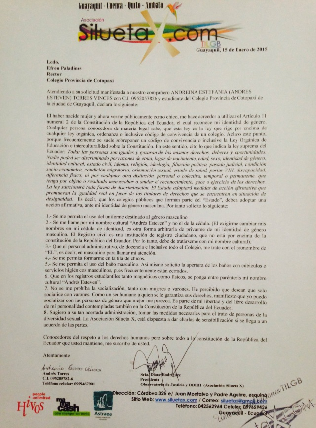 Pliego de solicitudes de un trans masculino a su colegio - Guayaquil Ecuador