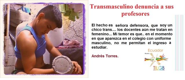Trans masculino denuncia a sus profesores del colegio cotopaxi a través de la Asociación Silueta X de Ecuador