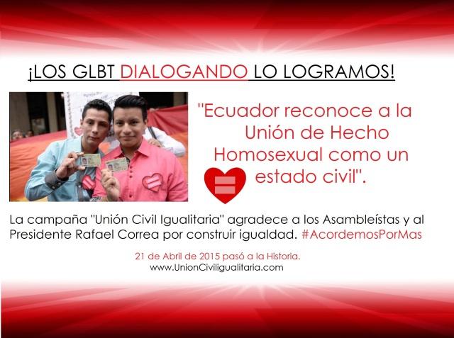 Ecuador reconoce las uniones de hecho homosexuales como estado civil - Campaña union civil igualitaria