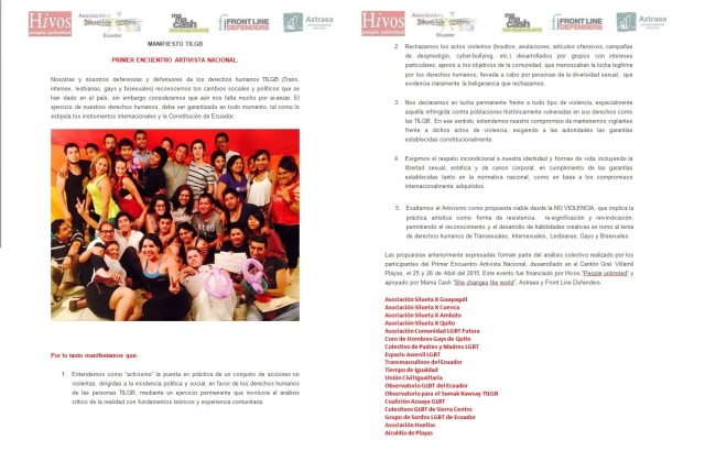 Encuentro Nacional Artivista en Ecuador gestado por la Asociación Silueta X e Hivos