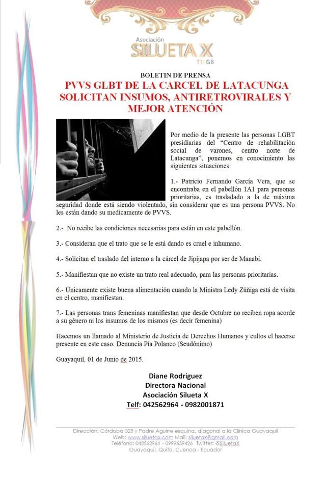 Carta Pública - LGBT Denuncian irregularidades en el centro de rehabilitación de latacunga - Asociación Silueta X