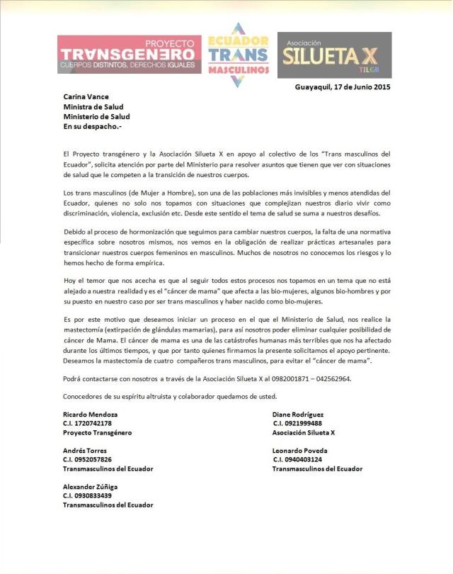 Trans masculinos del ecuador solicitan a ministra de salud prevenir el cancer de mama
