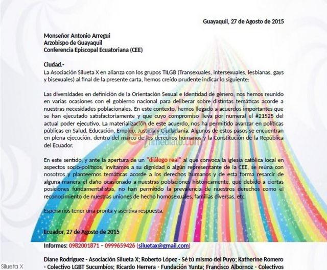 Grupo TILGB invitan a monseñor Antonio Arregui a dialogar y plantear temas sobre derechos humanos - SiluetaX -DianeRodriguez