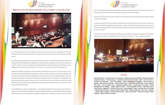 MANIFIESTO LGBT DEL DIALOGO NACIONAL POR LA EQUIDAD Y LA JUSTICIA SOCIAL