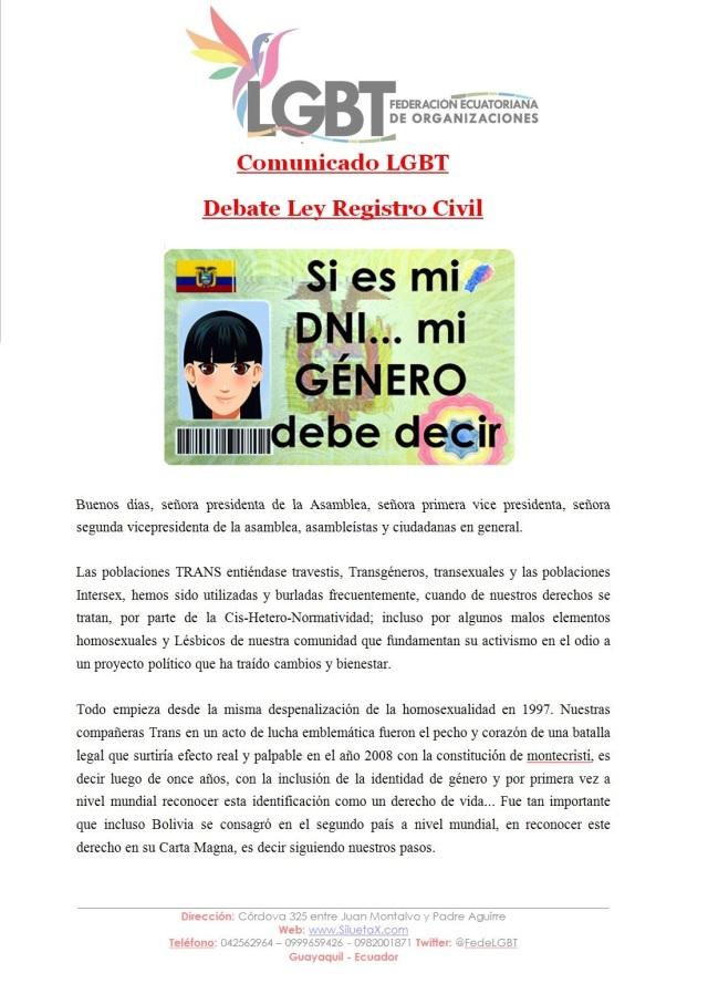 Comunicado LGBT- Debate Ley Registro Civil