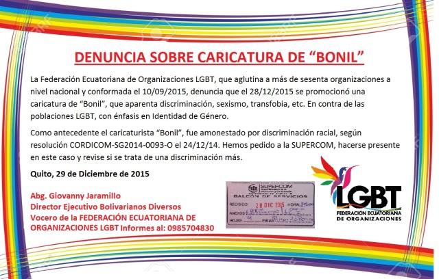 Denuncia contra Bonil por parte de la Federación Ecuatoriana de Organizaciones LGBT