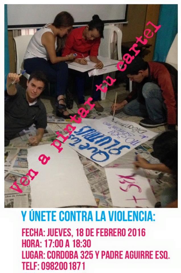 Pintado de carteles para la marcha de las Putas
