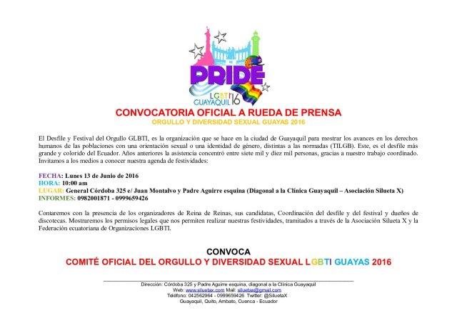 Rueda de Prensa Orgullo LGBTI 2016