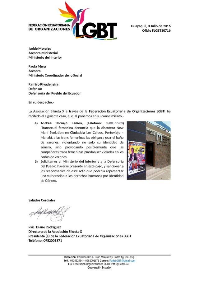 Oficio_FLGBT30716 Prohiben usar el baño de mujeres a trans en portoviejo en discoteca