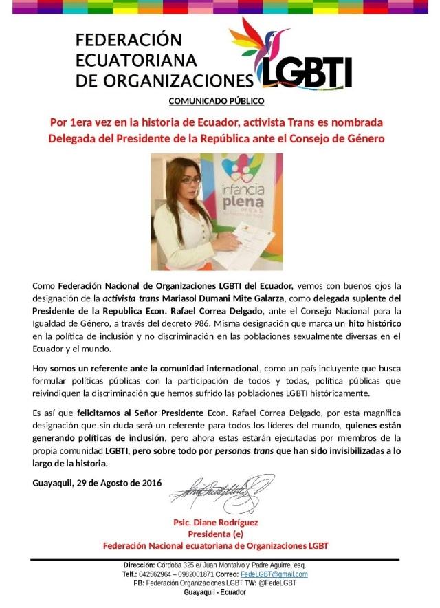 Activista Trans es nombrada Delegada del Presidente de Ecuador ante el Consejo de Género 2