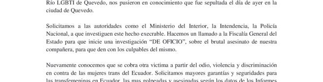 """Boletín de Prensa Rechazo al brutal y despiadado asesinato de nuestra compañera """"LaVerita"""""""