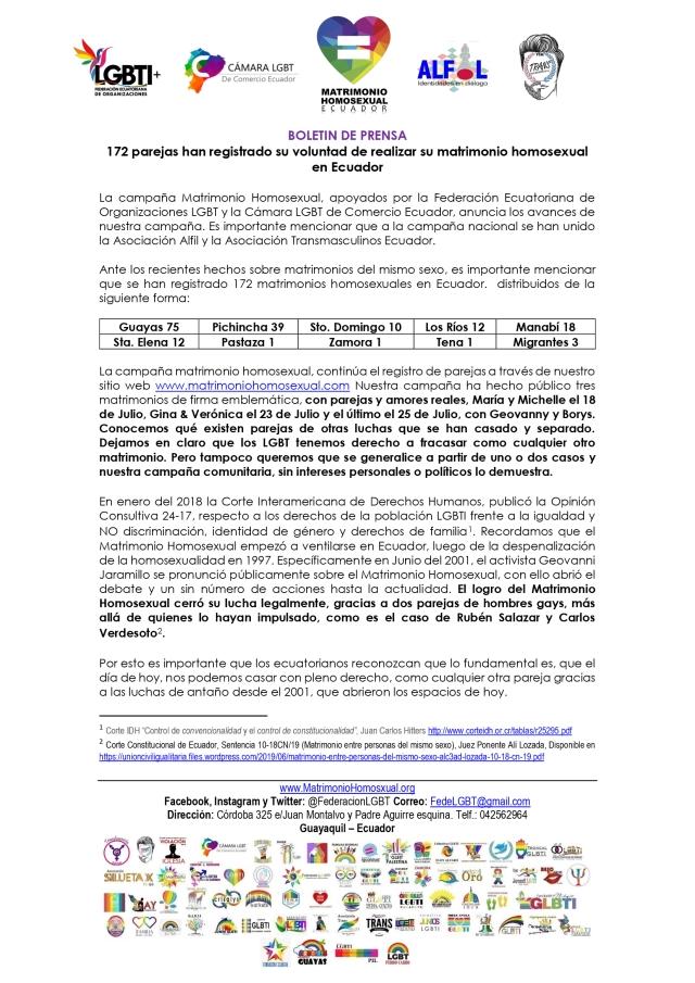 Boletín de Prensa - 172 parejas han registrado su voluntad de realizar su matrimonio homosexual en Ecuador 1