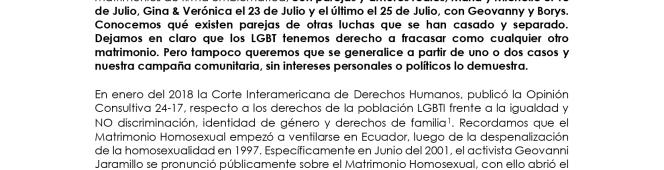 Boletín de Prensa: 172 parejas han registrado su voluntad de realizar su matrimonio homosexual enEcuador