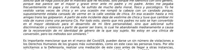 ADOLESCENTE TRANS ES VIOLENTADO POR SUS PADRES A PARTIR DE SU IDENTIDAD DE GÉNERO EN MEDIO DE LA EMERGENCIA#COVID19
