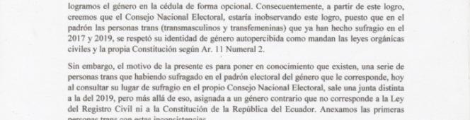 CARTA A LA PRESIDENTA DEL CNE DIANA ATAMAINT, SOBRE POSIBLE VULNERACIÓN A LA IDENTIDAD DE GÉNERO DE PERSONASTRANS