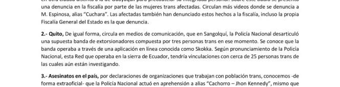 PRONUNCIAMIENTO SOBRE RED DE EXTORSIÓN Y/O EXPLOTACIÓN SEXUAL EN QUITO Y GUAYAQUIL Y ASESINATOSLGBT