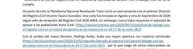 GRACIAS A LA INCIDENCIA DE LA PLATAFORMA NACIONAL REVOLUCIÓN TRANS EL REGISTRO CIVIL HABILITA EL GÉNERO EN LA CÉDULA A NIVELNACIONAL