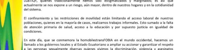 COMUNICADO LGBTI Ecuador #IDAHOBIT2021 17 DE MAYO DÍA INTERNACIONAL CONTRA LA HOMOLESTRANSFOBIA