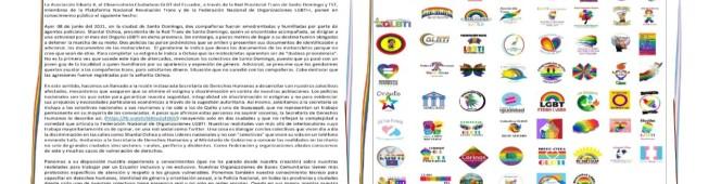 COMUNICADO LGBTIQ+ Llamamiento a la secretaria de Derechos Humanos: Policías en Santo Domingo violentan a personastrans