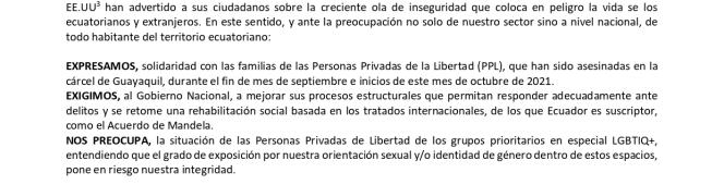 BOLETÍN DE PRENSAEL GOBIERNO DE ECUADOR TIENE LA OBLIGACIÓN DE SALVAGUARDAR LA INTEGRIDAD Y LA VIDA DE LAS PERSONAS PRIVADAS DELIBERTAD